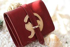 Handmade vintage custom sweet cute leather short trifold wallet for women/lady