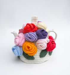Crochet teapot cozy handmade rose tea cosy spring flowers in bright colors via Etsy