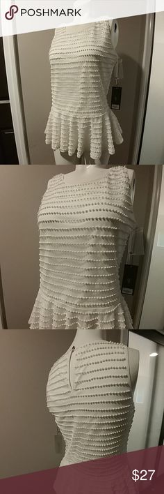 ✨ Adorable beaded Peplum top, NWT J. Lo intricately beaded white sleeveless Peplum top, size small, size small  30% off a bundle of three or more items Everything is negotiable Smoke free home Pet free home All items deserve a 2nd chance at happiness Currently not trading Jennifer Lopez Tops