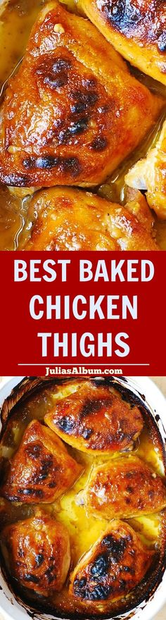 Best Baked Chicken Thighs - your family will rave about this recipe for days! Only 5 ingredients, only 10 minutes to prepare (and, 40 minute-baking-time)!