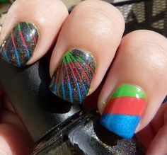 The Manicured Monkey: Rainbow and Nail Striping Tape Mani