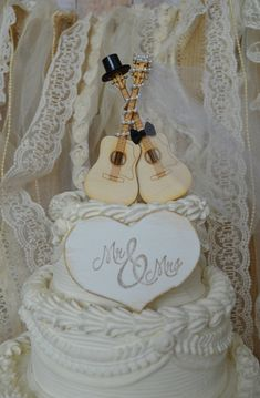 Guitar wedding cake topper-musician-ivory by MorganTheCreator