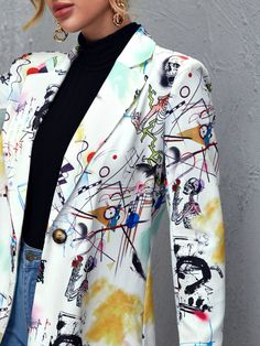 Custom Clothes, Diy Clothes, Casual Outfits, Fashion Outfits, Womens Fashion, Zeina, Printed Blazer, Plus Size Cardigans, Painted Clothes