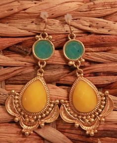 Turquoise and Yellow Double Bead Drop Earrings from Southern Jewelry Auctions on Facebook!
