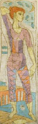 Dancer, Color Lithograph by Irving Amen
