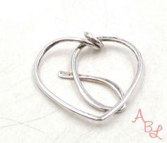 Sterling-Silver-Vintage-925-Modernist-Heart-Slider-Pendant-3-6g-533767