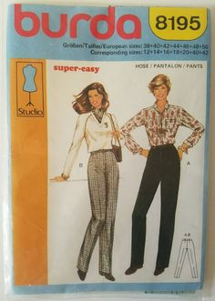 Burda Studio Super Easy Pants Sewing Pattern 8195 #Burda