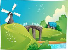 Windmill in landscape by @cyberscooty, windmill, scenic landscape