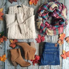 "In the words of Heidi Klum, ""In fashion one day you're in and the next you're out"". Sorry summer, fall is officially IN! ☺️ Machiatto Kisses Sweater $49, Kind Heart Suede Bootie by @chineselaundry $109, Cozy Love Blanket Scarf $28, The"