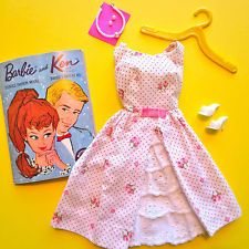 1962 Vintage Barbie GARDEN PARTY Tagged Dress JAPAN SHOES PEARL NECKLACE BOOKLET