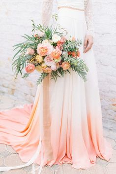 Wedding Dresses A bespoke bridal shoot with a custom dip dye wedding dress, a bold palette of peach and coral, and airy neutrals to complement this unique take on watercolor wedding inspiration! Floral Wedding, Wedding Bouquets, Wedding Gowns, Coral Wedding Dresses, Coral Wedding Flowers, Wedding Peach, Bohemian Wedding Flowers, Peach Wedding Colors, Bohemian Bride