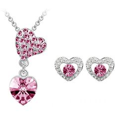 Beora Platinum Plated Rose Crystal Heart Necklace Set by Trendymela. Get this at just Rs.549. Buy Now @ Trendymela.com