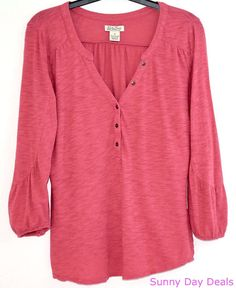 Lucky Brand Womens Top Cotton 3/4 Sleeve Live in Love Pink Boho Burnout Shirt M  #LuckyBrand #Blouse #Casual