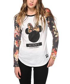Take your style from basic to bold with the floral print raglan sleeves and the iconic Minnie Mouse silhouette graphic printed on the front of this slim fit baseball tee.