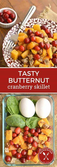 Fall Meal Prep Recipe: Butternut Squash Cranberry Skillet Meal Prep