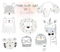Animals doodle set 3 Woodland Clipart Animals clipart