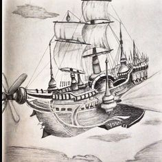 Here's a cool #pencil #sketch of an #airship by @smartignacco! I can just picture it bolting through the #sky like a #flyingship from #finalfantasy or some cool #steampunk novel! Great #illustration!