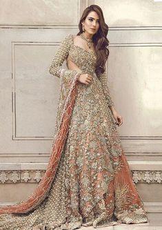 Pakistani Bridal Dress 2018 - Peach Back Trail Maxi Embroidered Lehenga Bridal Dresses 2018, Asian Bridal Dresses, Asian Wedding Dress, Pakistani Formal Dresses, Indian Bridal Outfits, Pakistani Wedding Outfits, Pakistani Bridal Dresses, Pakistani Wedding Dresses, Pakistani Dress Design