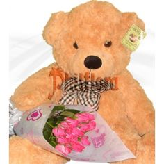 One dozen bouquet of elegant long stemmed pink roses and a floppy giant brown Teddy Bear approximately 22 to 24 inches tall to welcome the newly born baby girl of your family. We will deliver it directly to her mommy at the hospital. Shipped in a box and comes with a FREE personalized beautiful message card. Online Flower Shop, Brown Teddy Bear, Message Card, Pink Roses, Boyfriend, Bouquet, Elegant, Box, Flowers