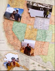 put photos of you cut out as the states on each state you visit on your map!adorable(: