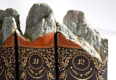 Mountains carved within books