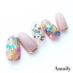 """Polubienia: 904, komentarze: 5 – Amaily.jp (@amaily_jp) na Instagramie: """"品番 No.8-8 筆記体メッセージ(G) No.5-17 ライン(G)"""" Japanese Nail Design, Japanese Nail Art, Cute Nails, Pretty Nails, Bunny Nails, Vintage Nails, Red Nail Designs, Crystal Nails, Shellac Nails"""