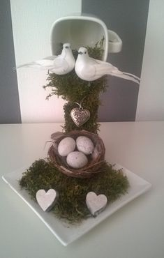 How to make a Zwevend kopje. This has two doves and a nest can use as wedding centerpiece, or baby shower decor with the eggs in basket.