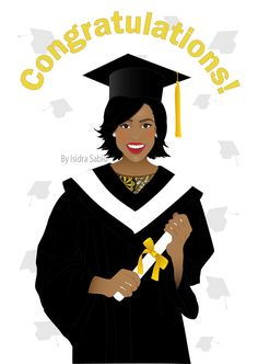 Afrocentric Card AVAILABLE NOW - Afrocentric Graduation Card for women! Congratulations on your graduation card shows a young black (African American) woman graduating from higher education. She is wearing a black graduation gown and hat, and it's holding her diploma in her hands. She had gorgeous smile and is wearing red lipstick. Graduation caps thrown in the air can be seen in the background. Original illustration by Isidra Sabio