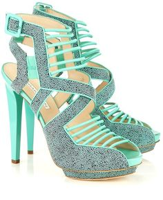 140mm Aqua Stingray Suede Cage Heels - Lyst GASPPPP!!! Pastel heel.  I love this color against my hue!