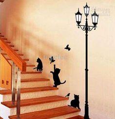 gato e lâmpada de parede de pVC adesivos de arte decalques bela casa de melhoria