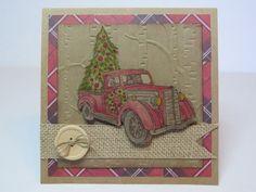 Carte de Noël, carte de Noël rustique, carte vintage «Vieux camion rouge» de la boutique Lamainalacarte sur Etsy