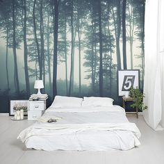 Check out the Sea of Trees Forest Mural Wallpaper, a minimal forest wallpaper design that will impress. Bedroom Murals, Home Bedroom, Wall Murals, Bedroom Decor, Bedrooms, Style At Home, Forest Mural, Forest Wallpaper, Funky Wallpaper