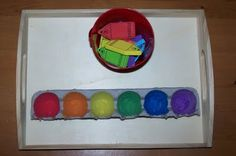 Foam Crayon Color Sorting  Place foam crayons into the egg cup with the corresponding color.  ~color recognition & matching~
