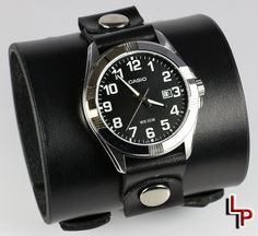 Plain, economical, and high quality all describe this wide watch cuff with imported Casio® timepiece. Apple Watch Leather Strap, Black Leather Watch, Cuff Watches, Watches For Men, Brass Buckle, Leather Cuffs, Casio, Accessories, Bracelet