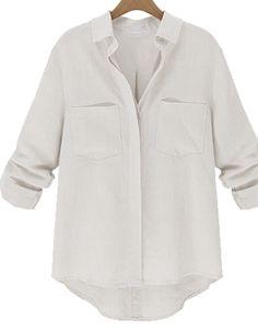 Shop White Lapel Long Sleeve Pockets Loose Blouse online. Sheinside offers White Lapel Long Sleeve Pockets Loose Blouse & more to fit your fashionable needs. Free Shipping Worldwide!