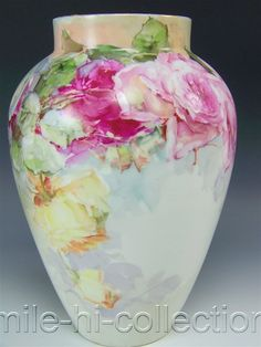 BEAUTIFUL 1914 LIMOGES FRANCE HAND PAINTED ROSES VASE