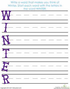 Worksheets: Acrostic Winter Poem