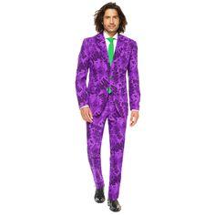 Men's OppoSuits Slim-Fit The Joker Suit & Tie Set, Size: 42 - regular, Med Purple Burgundy Suit, Purple Suits, Pink Suit, Dark Knight, Suit Fashion, New Fashion, Joker Suit, Marvel Dc, Adult Costumes