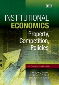 Requiring only a basic understanding of economics, this lucid and well-written text will be essential reading for undergraduate and postgraduate students wanting to understand the problems of the real world – such as entrepreneurship, innovation, the cost of the welfare state, international financial crises, and economic development. More: http://ppe.mercatus.org/publication/institutional-economics-property-competition-policies-2nd-ed