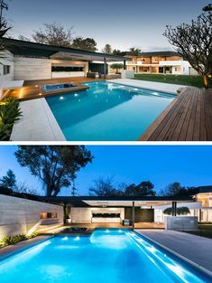 The outdoor space features an expansive grassy area, with swimming pool, an outdoor kitchen and covered entertaining area. The pool has a separate hot tub area, with a built-in bench on the wall.