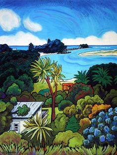 In New Zealand the natural landscape has a character all of its own, and there is a unique Pacific light; New Zealand Image, New Zealand Art, Peruvian Art, Nz Art, Design Art, Tile Design, Kiwiana, Beach Art, Beautiful Sunset