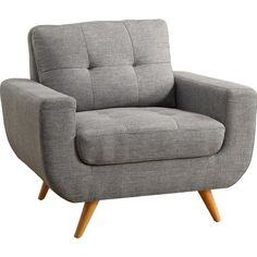 Nothing makes a contemporary design statement like iNSTANT HOME Clementina arm chair. This chair set the design tone while allowing dramatic upholstery silhouettes to retain a U shape leisure chair in the living room. This modern style chair has  generous padding, simple stitches, and is tufted on the seat and back cushion. It's complemented by the set of clean and natural solid wood legs. This whole collection comes with soft highlights in a linen upholstery.