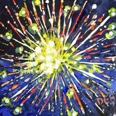 "Daily Paintworks - ""Fireworks Over America"" - Original Fine Art for Sale - © Debbie Yacenda"