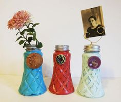 Repurposed Salt Shaker  Upcycled Vase or Picture Holder. Distressed vase with vintage buttons. More even more choices, follow this link. https://www.etsy.com/shop/GreenEarthSoul?ref=seller-platform-mcnav§ion_id=15723856
