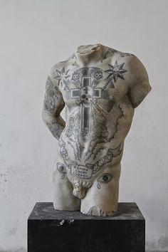 Black and white - man - torso -  Kouros - Fabio Viale - marble - sculpture - tattoo