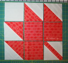 Maple Leaf Tutorial with EASY Half Square Triangles.  Check it out.    layout by {Angela} All Patched Up, via Flickr