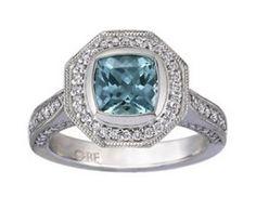Custom Designed Seafoam Cushion Sapphire Luxe Bezel Halo Ring #BrilliantEarth