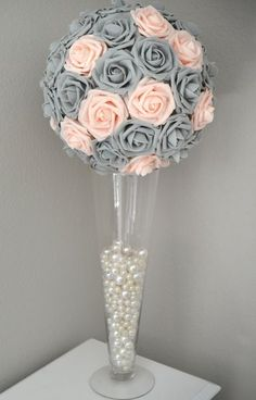 New wedding centerpieces pearls flower ball Ideas Candle Centerpieces, Wedding Centerpieces, Wedding Decorations, Diy Quinceanera Decorations, Ball Decorations, Centrepieces, Centerpiece Ideas, Wedding Themes, Wedding Colors