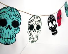 Printable Sugar Skull Garland DIY decor  Day of the by MayhemHere