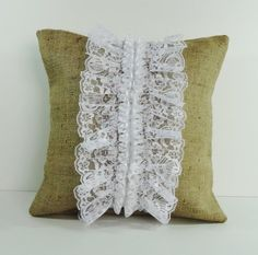 Rustic Burlap and Lace Decorative Pillow Cover